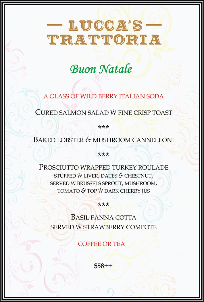 Christmas Italian Dinner without Wine Pairing